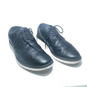 Toms Mens Brouge Shoes Black Lace Up Wingtip Cap